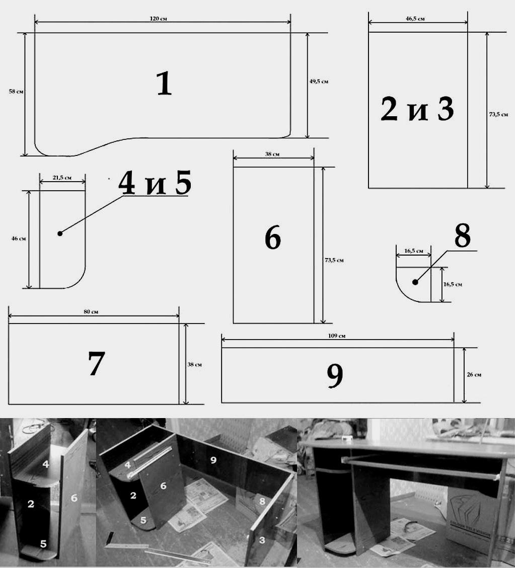 Házi számítógép asztal: ami fontos, megoldások, anyagok, tervek, sémák